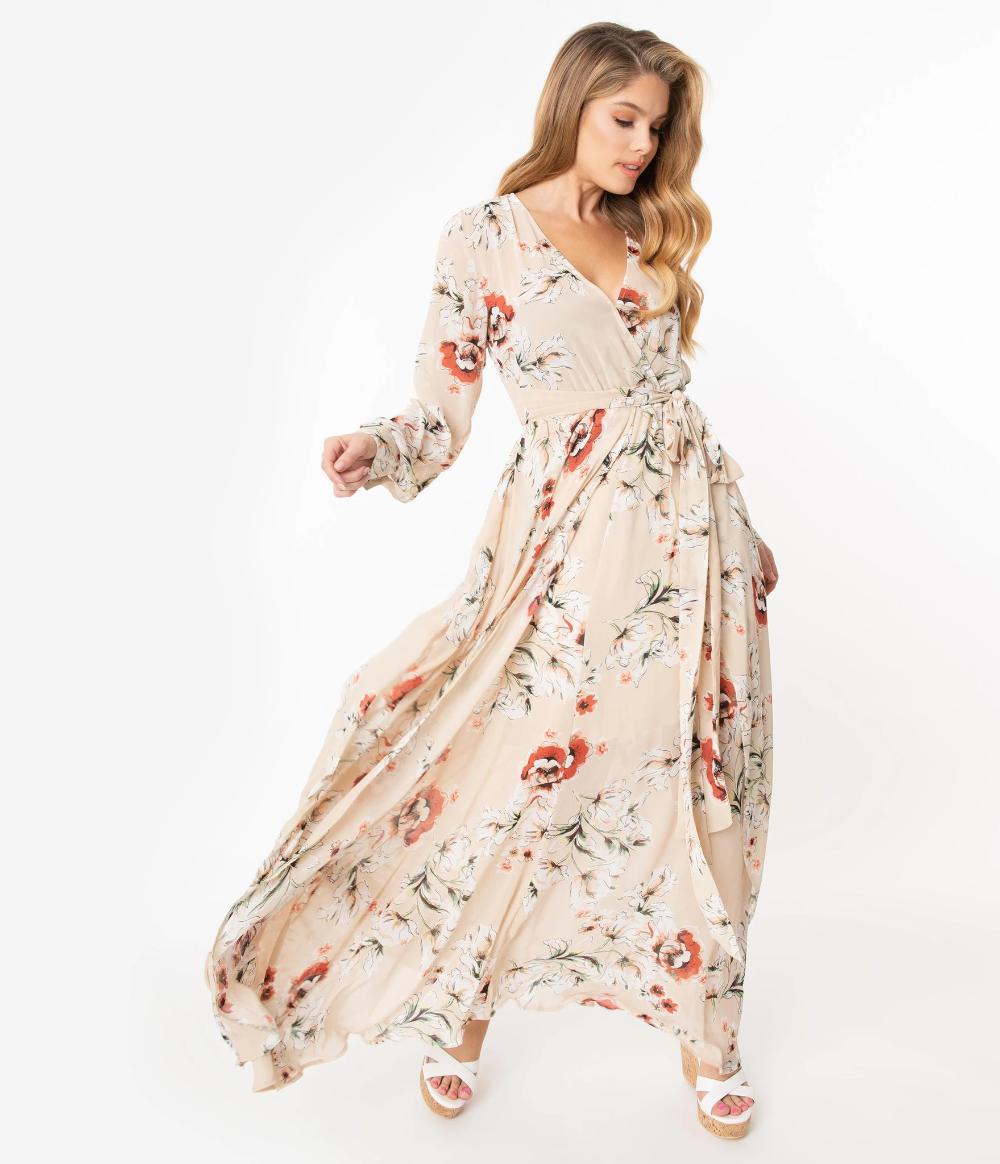 Unique Vintage Light Tan Floral Farrah Maxi Dress Vintage Maxi Dress Maxi Dress 70s Fashion Dresses [ 1164 x 1000 Pixel ]