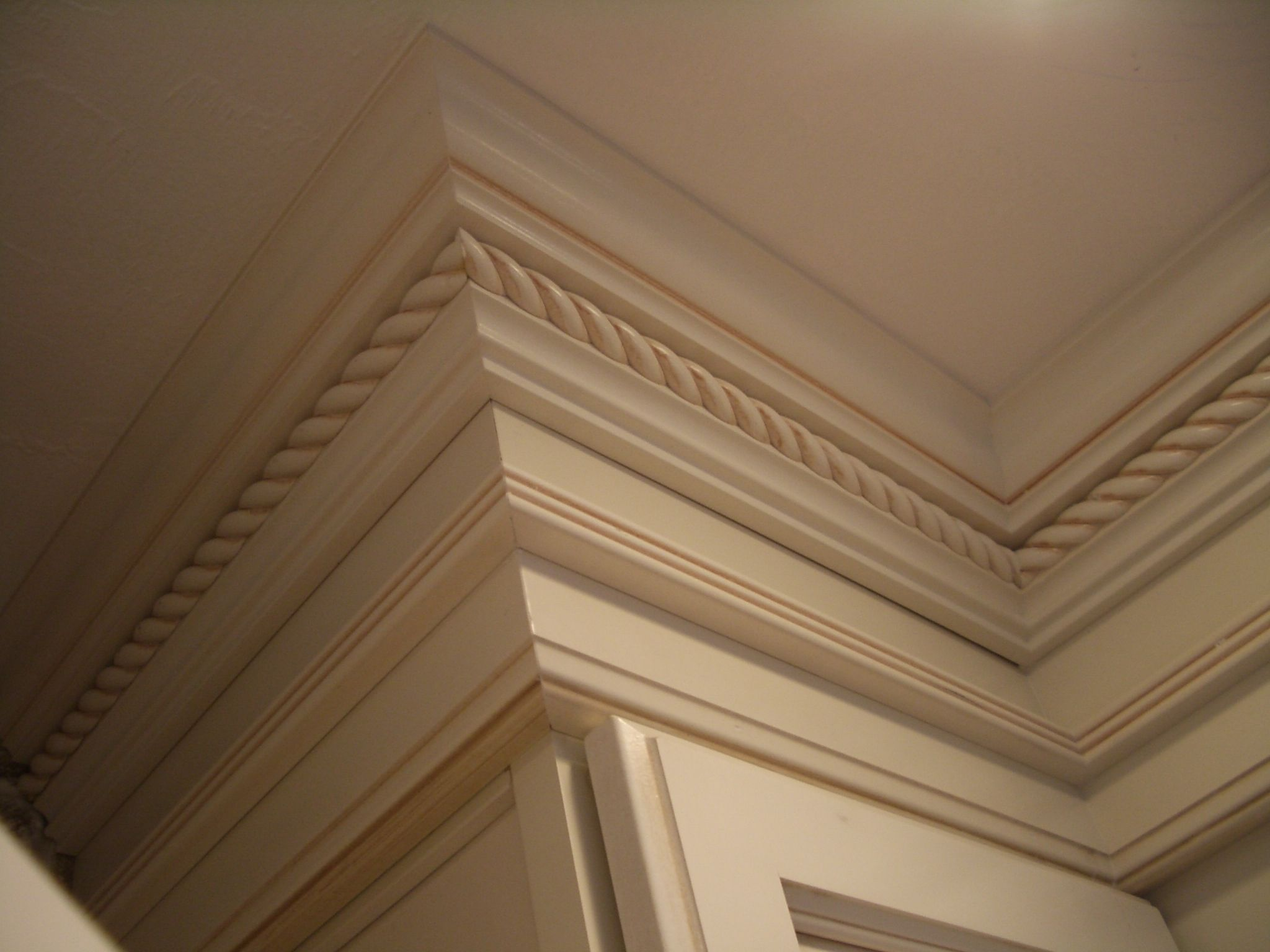 painted cabinets, crown, rope molding, moulding, kitchen trim