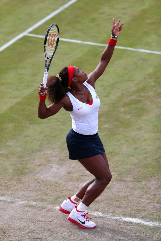 Day Three July 30 Serena Williams Of The United States Serves During Her Women S Doubles Tennis Match Against Sorana Cirst Tennis Play Tennis Tennis Workout