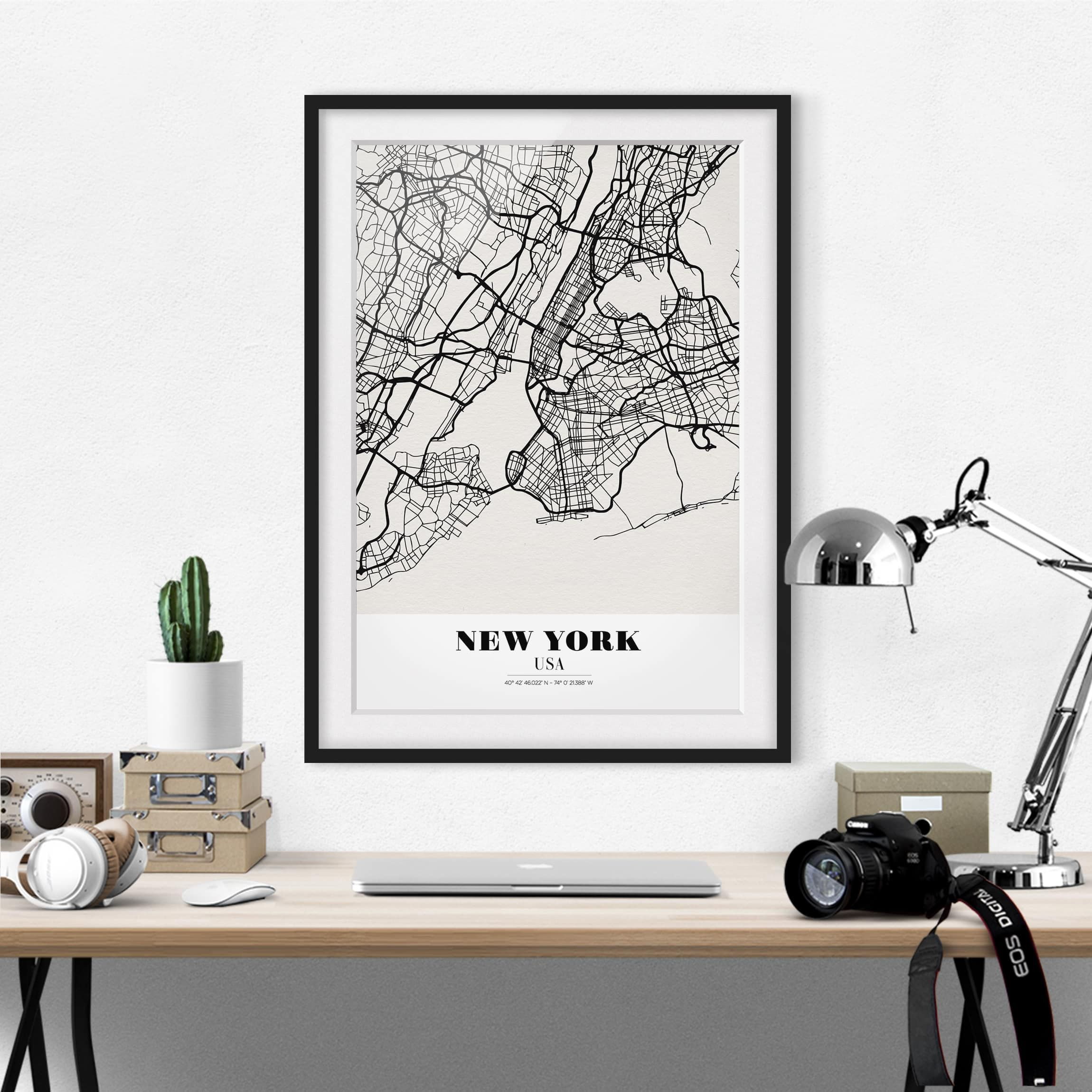 Poster con cornice New York City Map Classic
