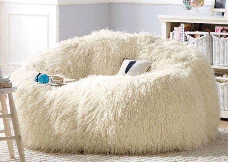 Good Large Shaggy Faux Fur Beanbag Cover Plush Bean Bag Chair 140cm(D) White Good Looking