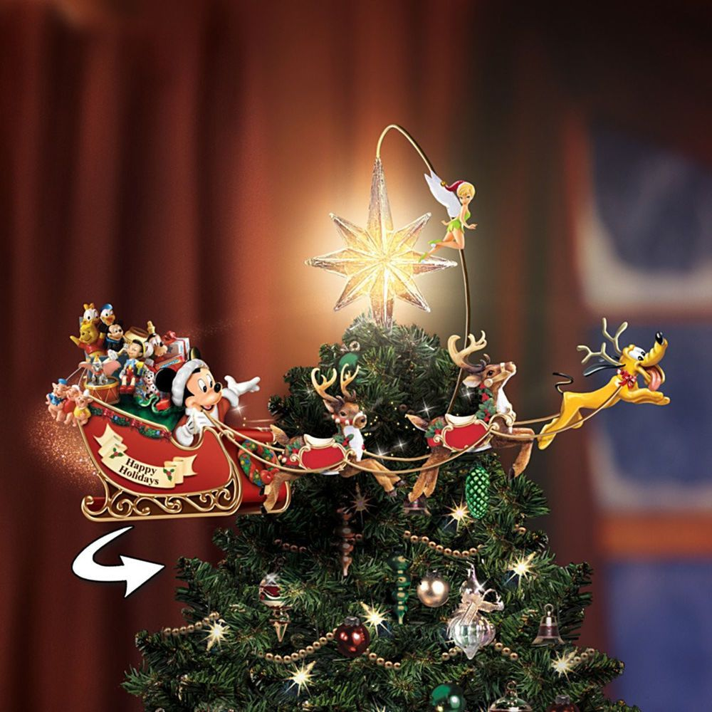 WALT DISNEY CHRISTMAS TREE TOPPER LIGHTED & MOVING MICKEY