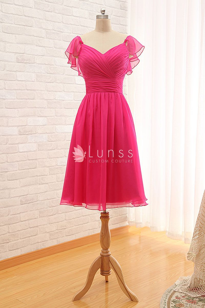 Fuchsia pink chiffon cute short bridesmaid dress with ruffled fuchsia pink chiffon cute short bridesmaid dress with ruffled short sleeves ombrellifo Choice Image