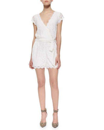 T9SS4 Diane von Furstenberg Purdette Lace Short Wrap Jumpsuit