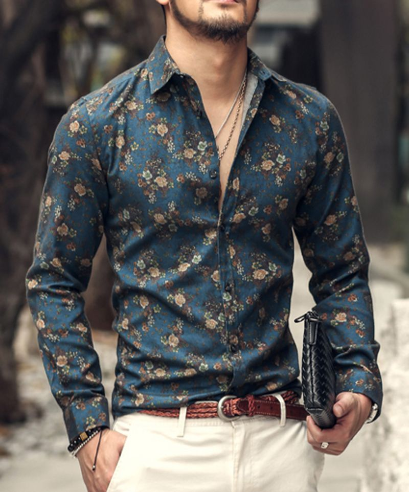 Men shirt Floral printing long sleeve shirts men clothes flowers ...