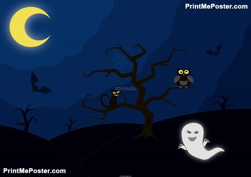 Poster Of Moonlit Night With Spooky Characters Animals Posters