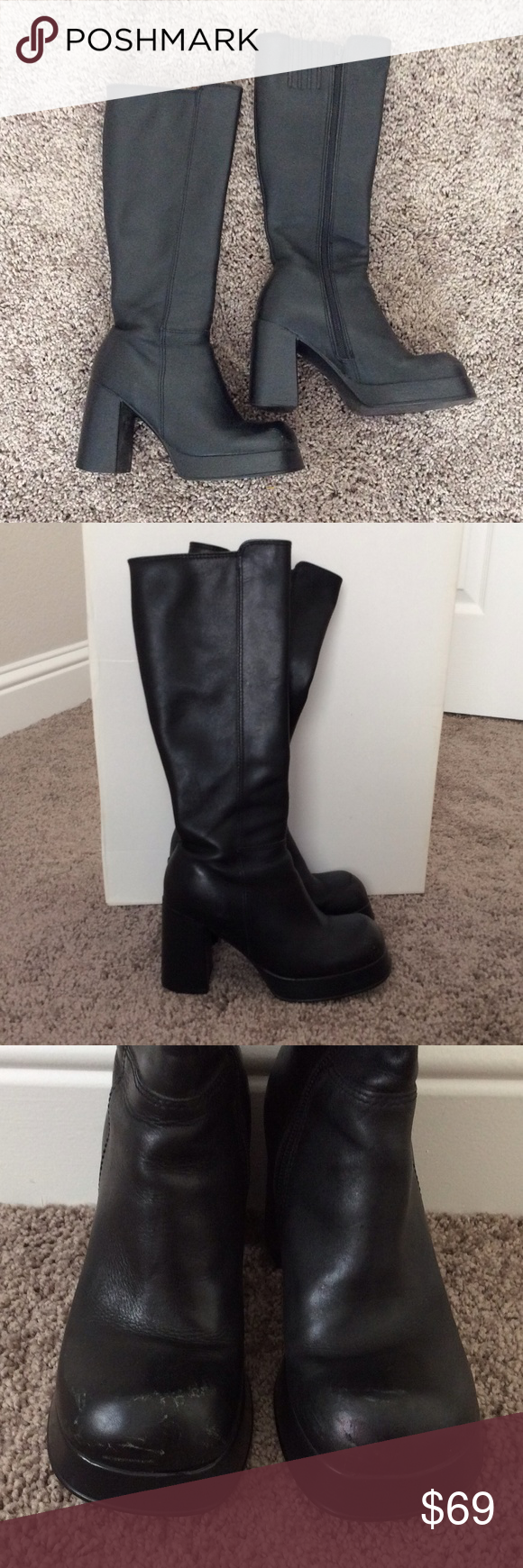 aa8568c84 Steve Madden Porsha Black Leather boots Used condition in great shape  besides major scuffs on front