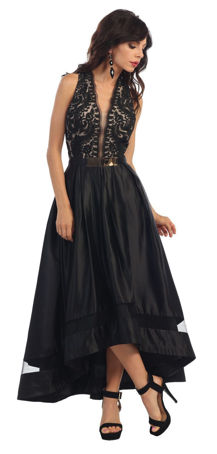 High low prom dress formal evening gown lace applique evening