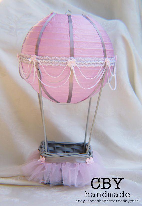 Hot Air Balloon Baby Shower centerpiece - pink and grey tutu // Hot Air Balloon Party supplies // Hot Air Balloon Nursery Decor