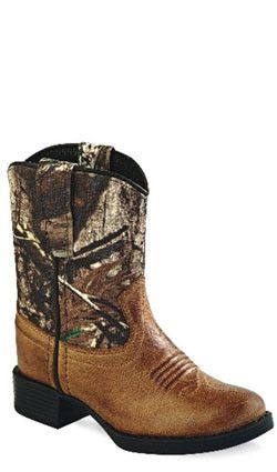 Old West Brown Toddler Boys Camo Round Toe Cowboy Western Boots