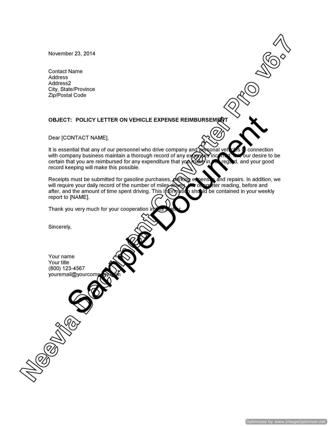 Policy Letter Vehicle Expense Reimbursement Lawyer  Home Design