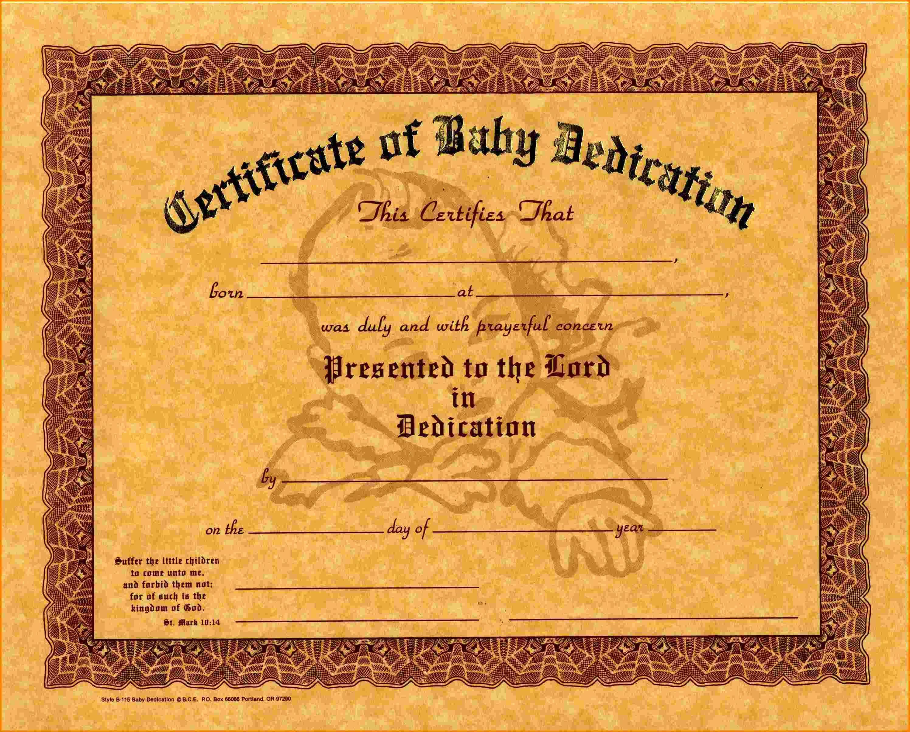 8 Baby Dedication Certificate Cashier Resume Baby Dedication