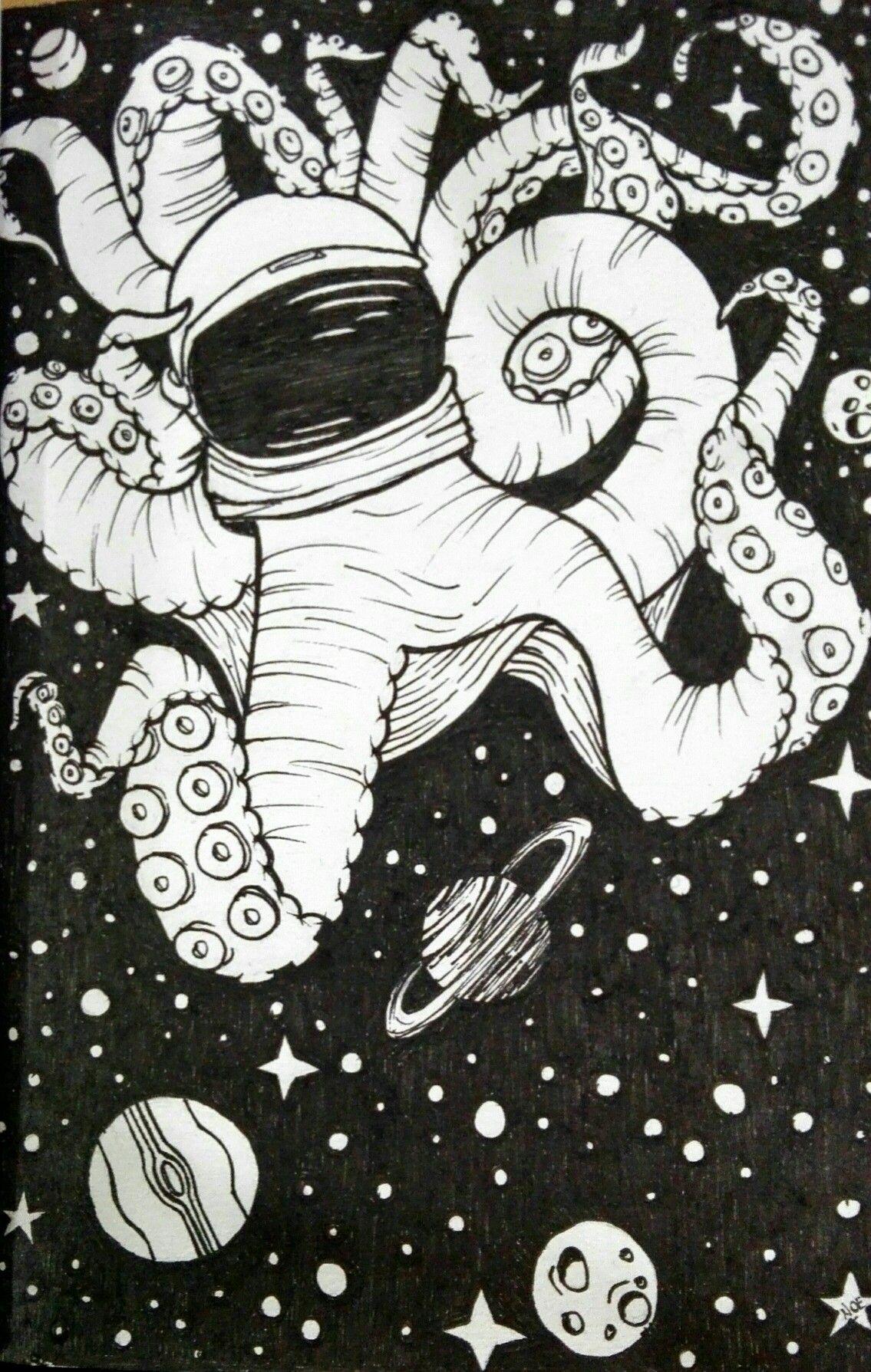 Dibujo de un pulpo astronauta hecho con estilografoblanco y