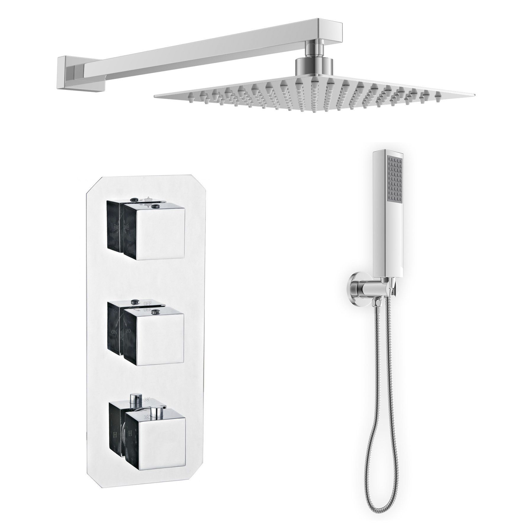 200mm Slimline Wall Square Shower Head Set With 3 Button