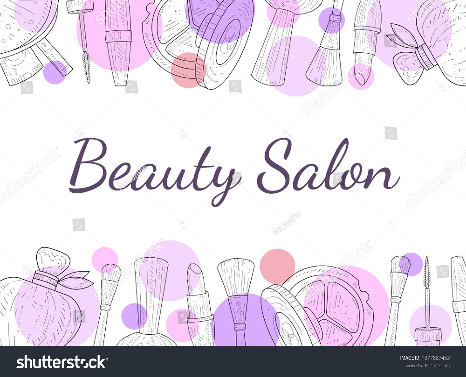 Beauty Salon Banner Template Cosmetics And Beauty Background With Make Up Artist Objects Vector Illustratio Cosmetics Banner Beauty Background Banner Template