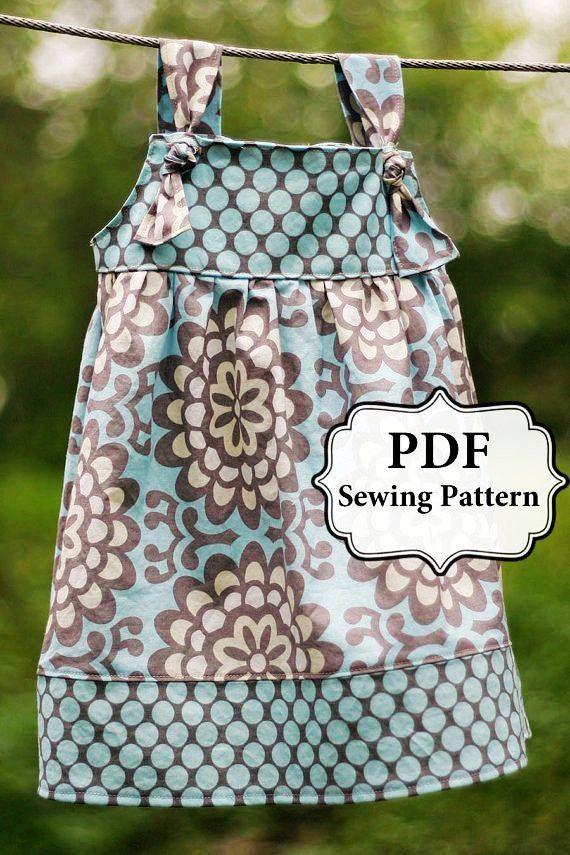 Pdf Apron Knot Dress Sewing Pattern Sizes 3 Month – Girls 8 | DIYATOR