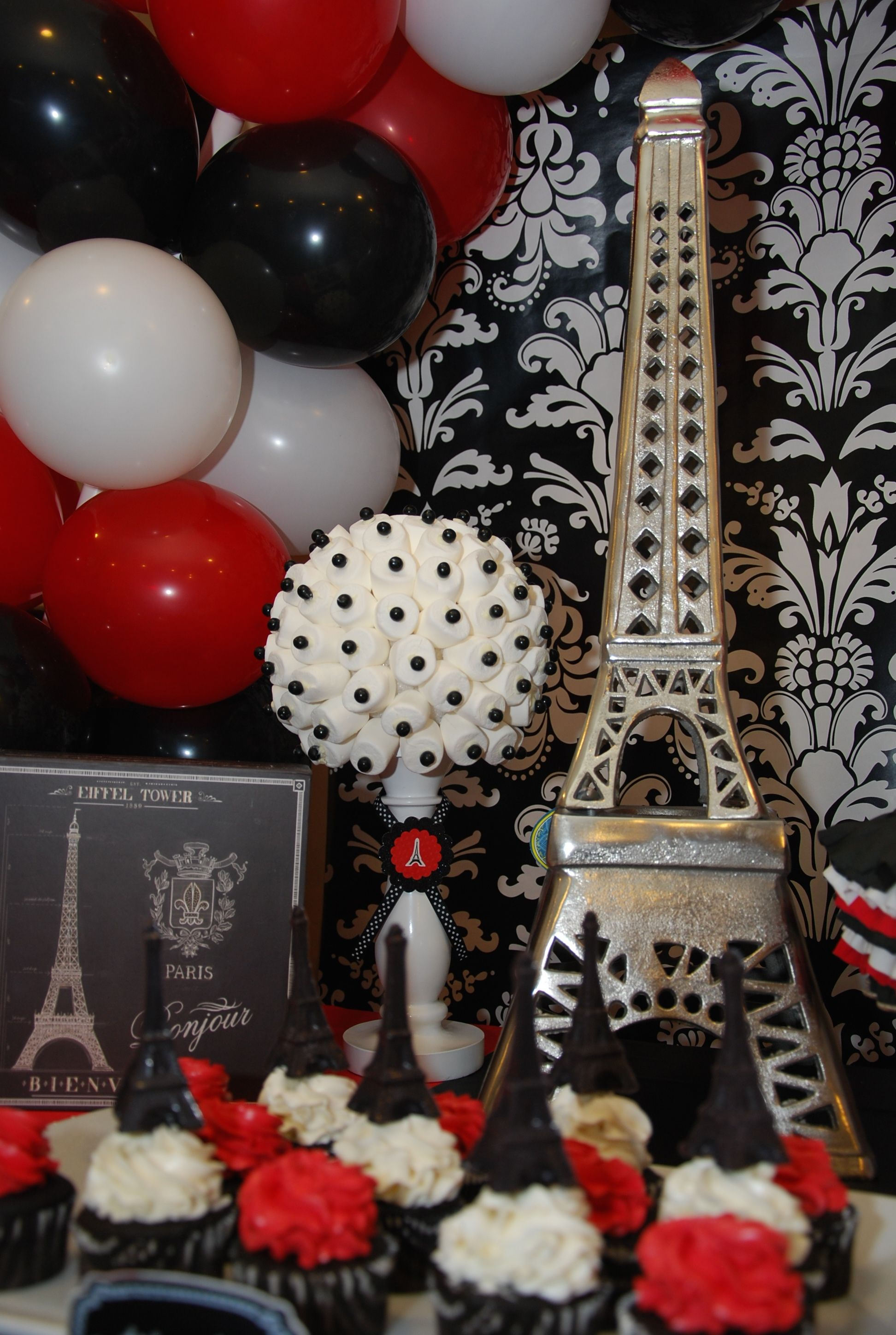 Parisian Party With Red Black And White Motif Painting Birthday