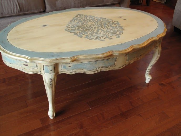 French provincial coffee table painted in cream and duck for Antique cream coffee table