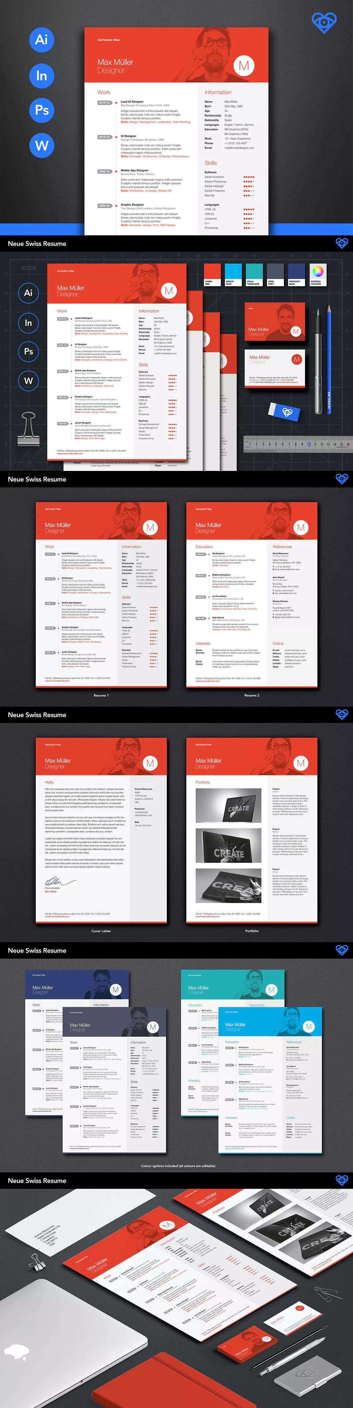 Neue swiss resume cv template ai indd psd ms word resume neue swiss resume cv by ikonome on envato elements yelopaper Gallery