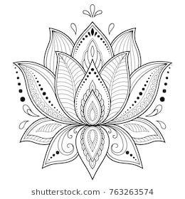 Mehndi Blumenmuster für Henna Zeichnung und Stock-Vektorgrafik (Lizenzfrei) 708426940