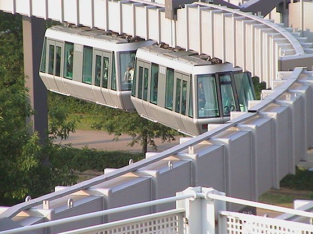 A fully automatic, suspended monorail called SkyTrain