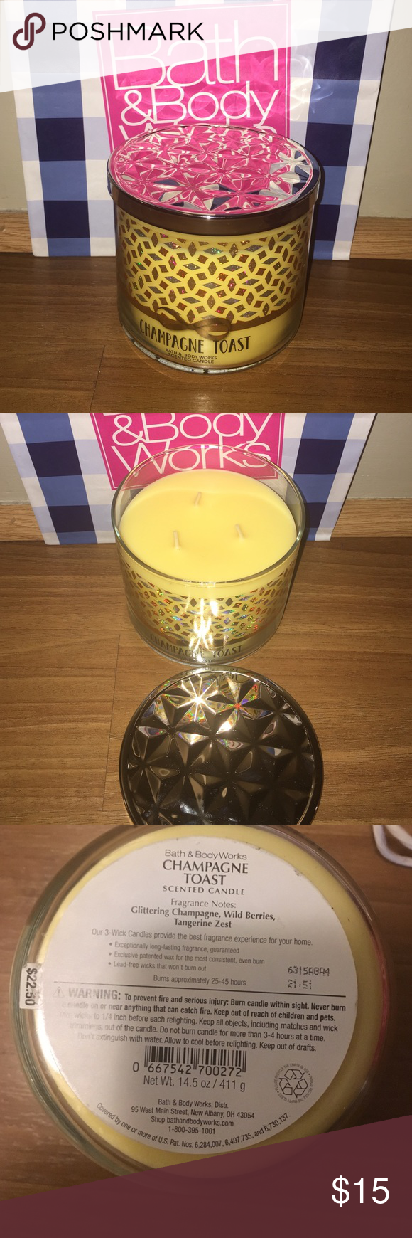 SALE Champagne Toast 3 wick candle Bath & Body Works 3 wick candle ...