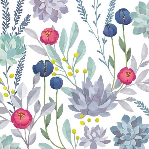 Watercolor Cactus Wallpaper Removable Wallpapers Floral Cactus