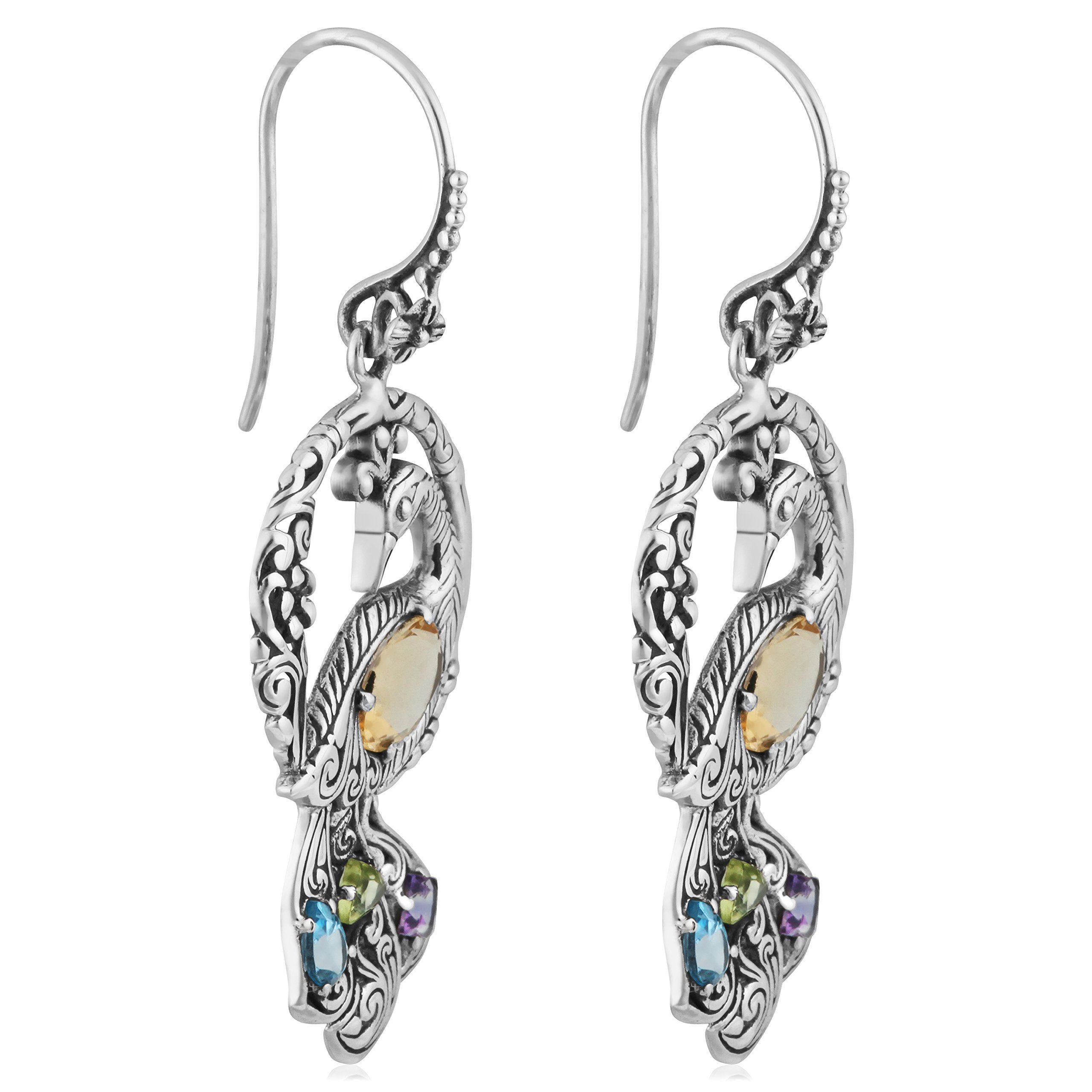 Sterling Silver Abstract Multi Color Citrine Topaz Drop Dangle Post Earrings
