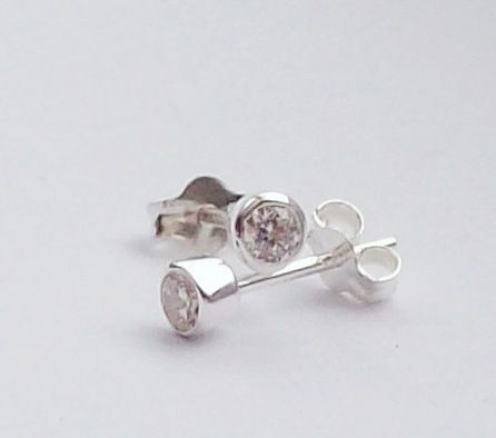 CZ Sterling Silver Stud Earrings Sparkly  £18.00