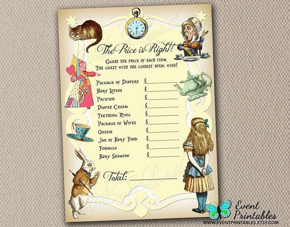 Alice In Wonderland Games: Alice In Wonderland Price Is Right Game Card, Baby Shower
