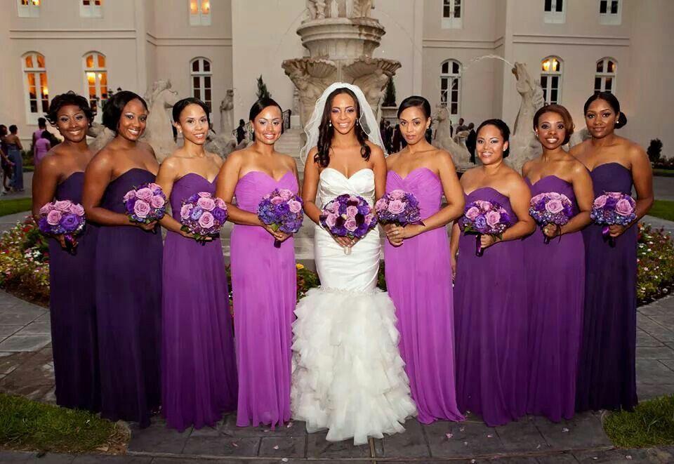 purple wedding ideas, Shades of Purple bridesmaid dresses - love the ...