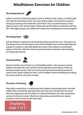 Mindfulness Activities For Children Worksheet Mindfulness