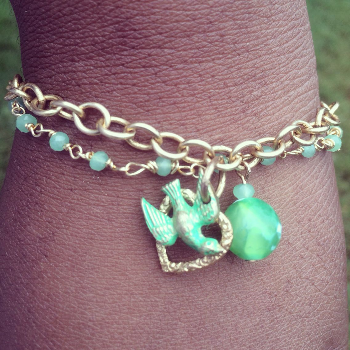My brass and agate bracelet is all done now to my earrings beadlife