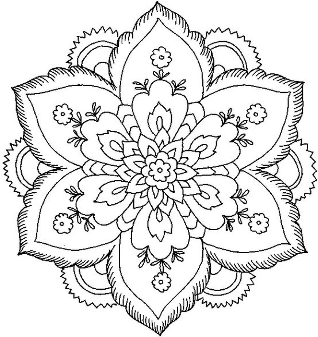 beautiful coloring pages for adults download and print nature flower mandala coloring pages