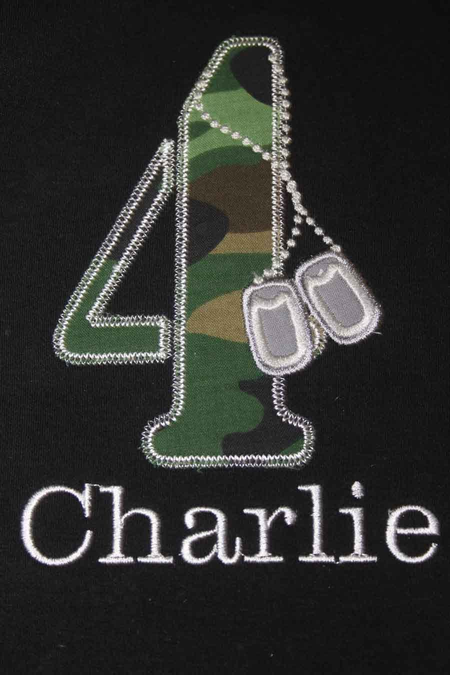 Soldiers Dog Tags In Camo Birthday T Shirt Or Onesie Custom