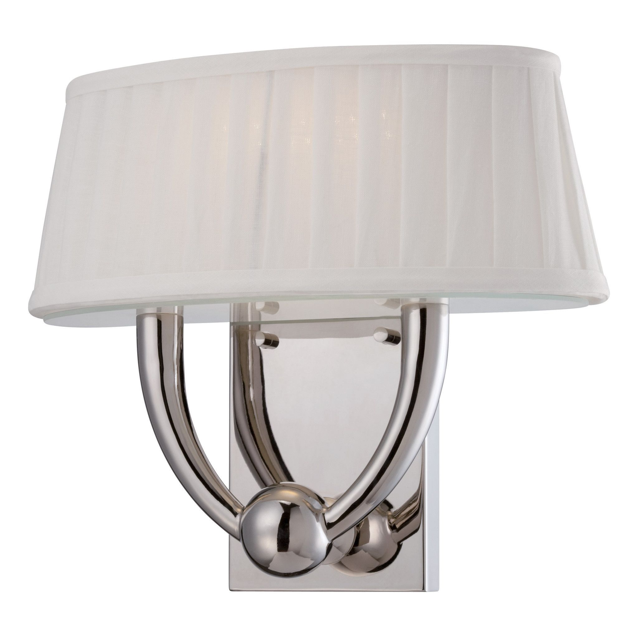 Light wall mounted led wall sconce in polished nickel finish
