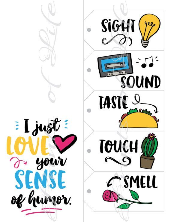 Five Senses Gift Tags & Card. Instant download printable. 5 Sense of Humor Funny print. Christmas gi
