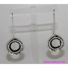 Silpada Artisan Jewelry Oxidized Hammered Circle 925 Sterling Silver Long Threader Earrings B Retired Rare