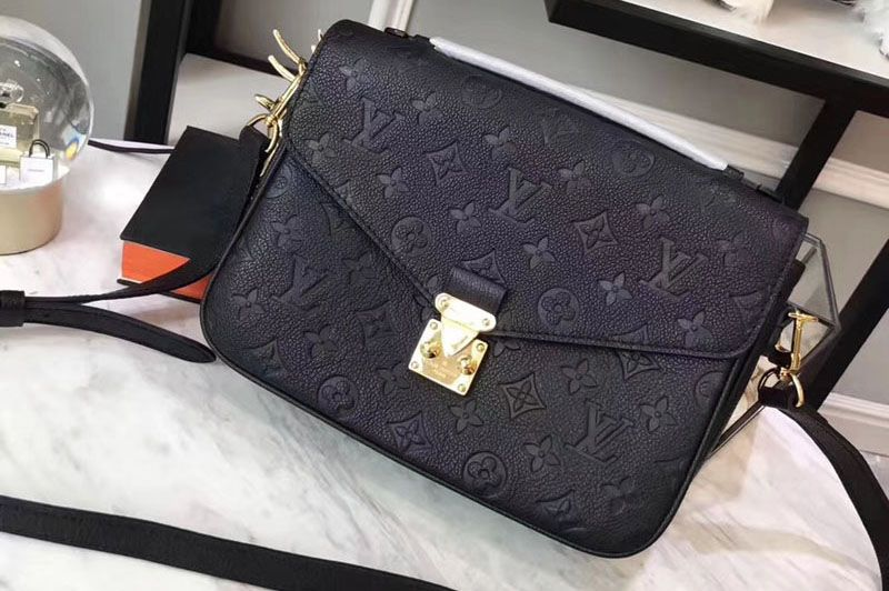 ddd30f042690a Louis Vuitton M41487 Pochette Metis Monogram empreinte Leather Bags Black