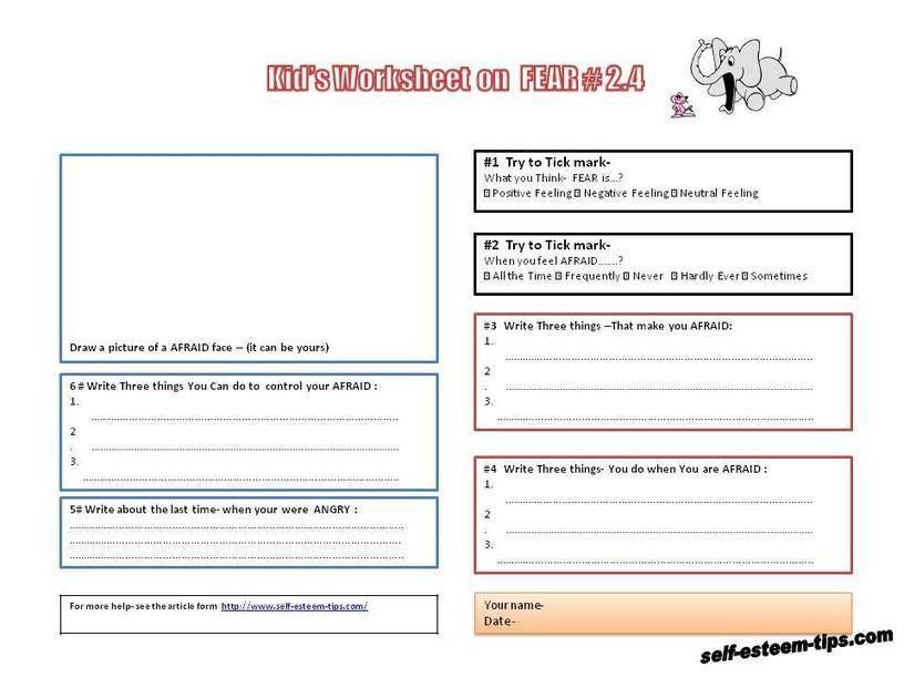 Free printable kid worksheets on feelings