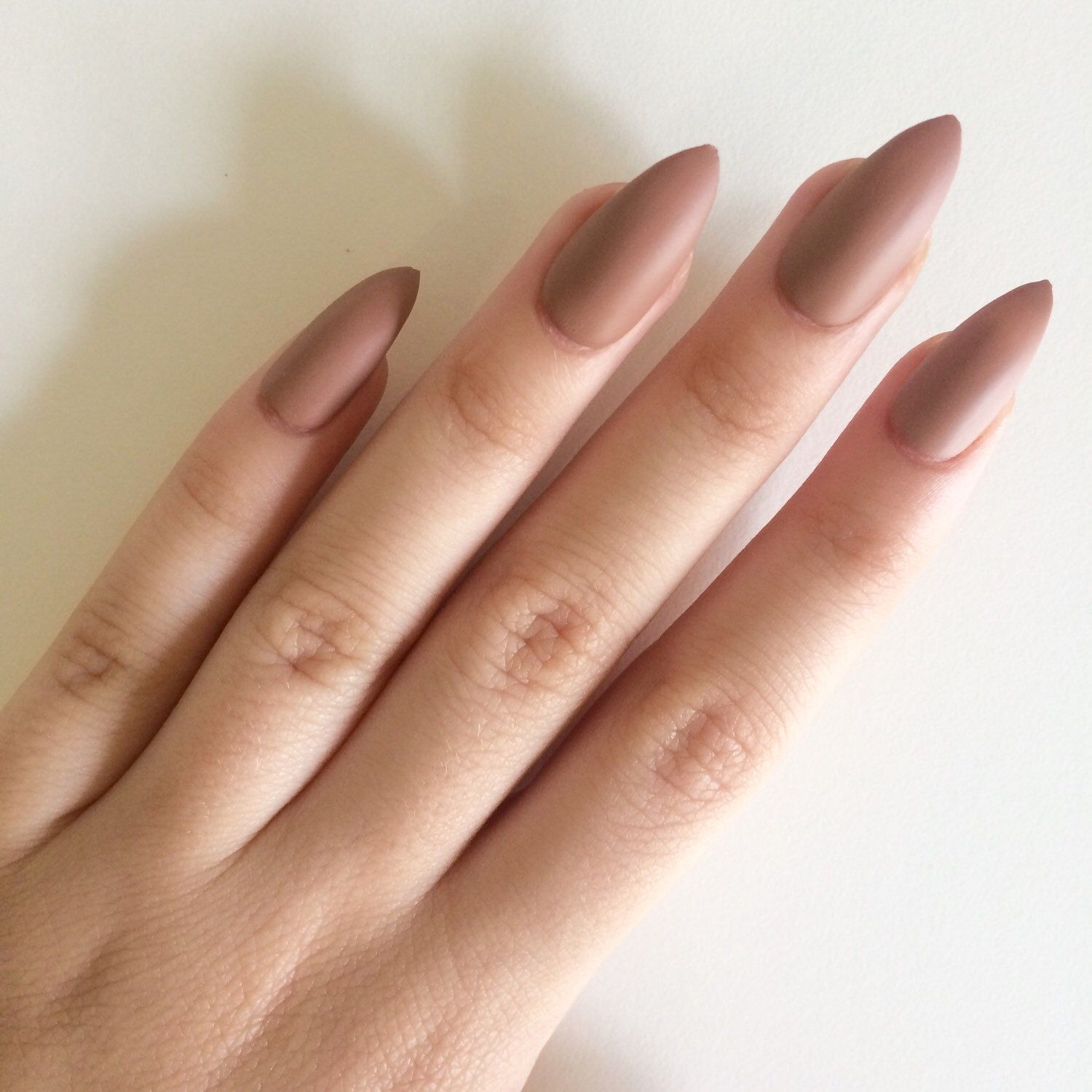 Matte brown stiletto nails, hand painted acrylic nails, fake nails ...