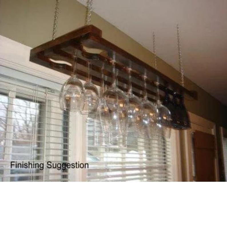 Wooden Hanging Wine Glass Rack 3 Row 32 Inch Hanging Wine Glass Rack Glass Rack Wine Glass Rack