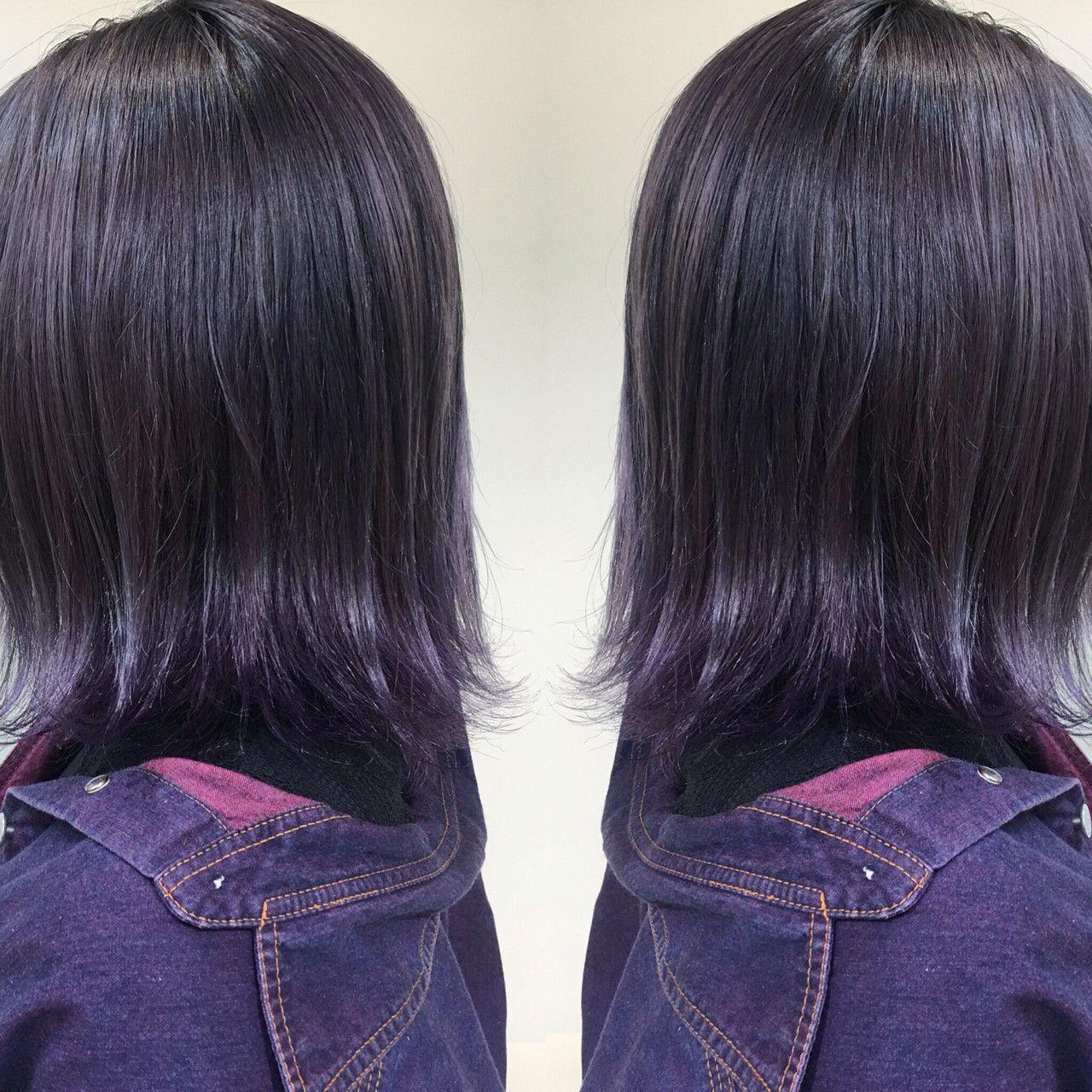 平成最後だから派手色に染めて カラフルカラーにイメチェン計画 Hair パープルヘアー ヘアカラー パープル バイオレット ヘアカラー