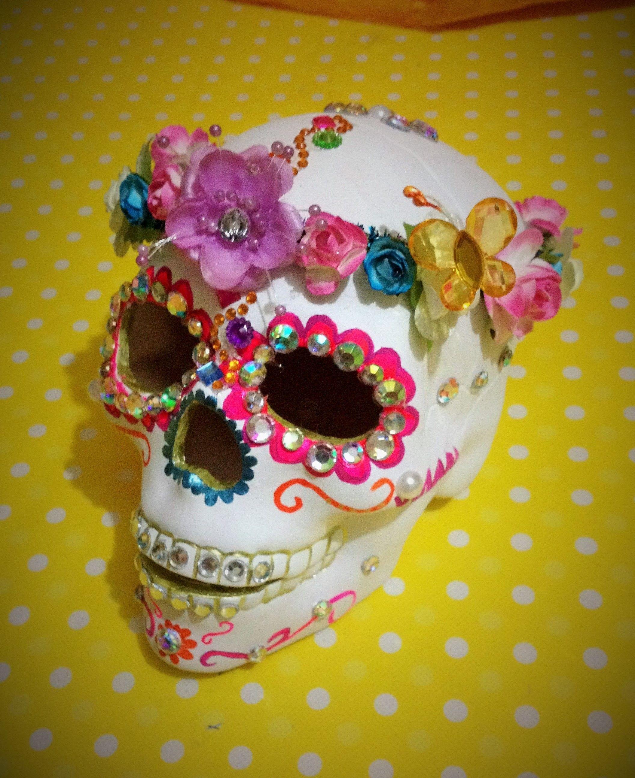 Diy Decora Esqueleto Ceramica Corona Flores Decorates Ceramic