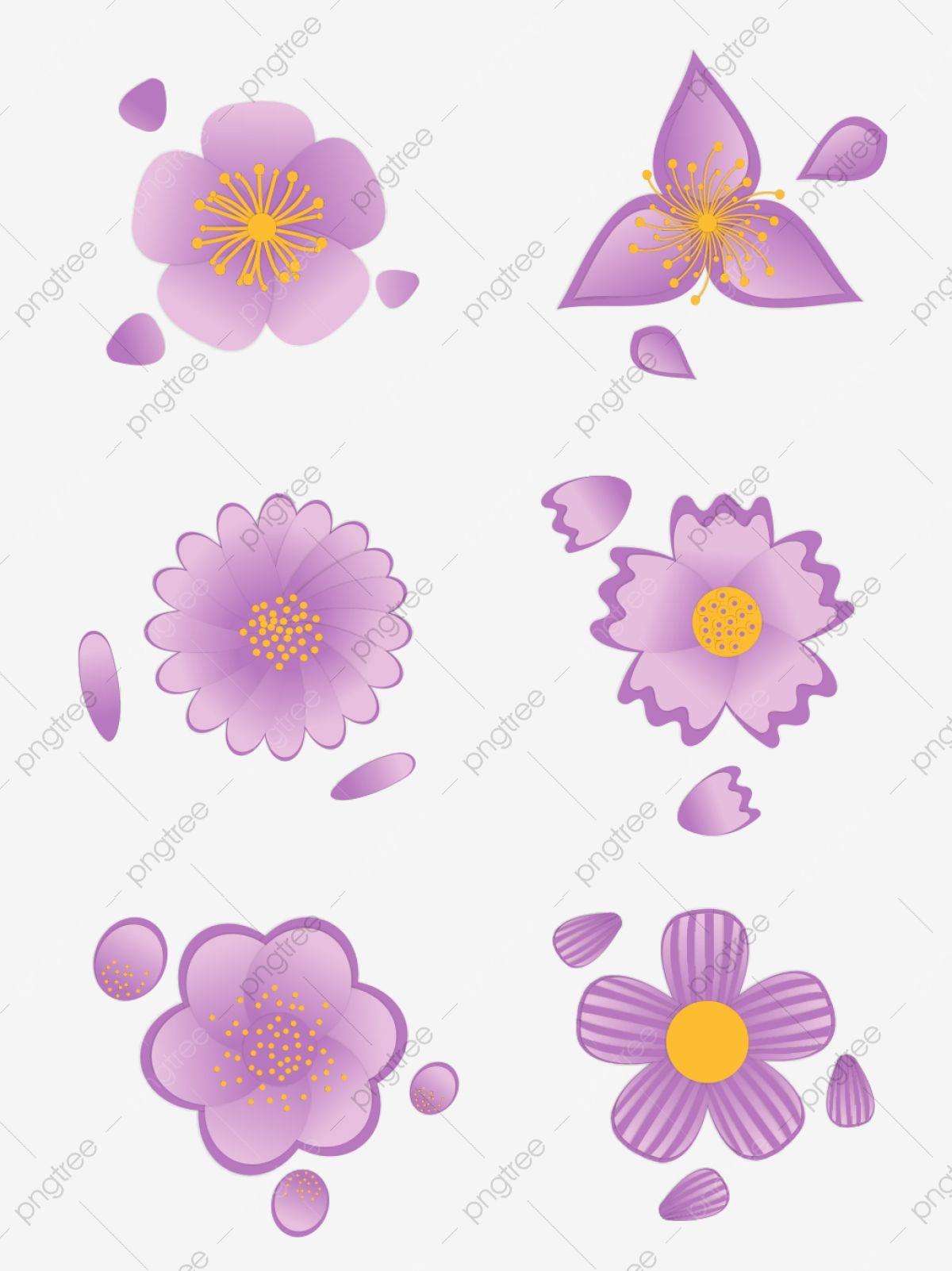 Gambar Bunga Kartun Yang Indah Ungu Bunga Bunga Ungu