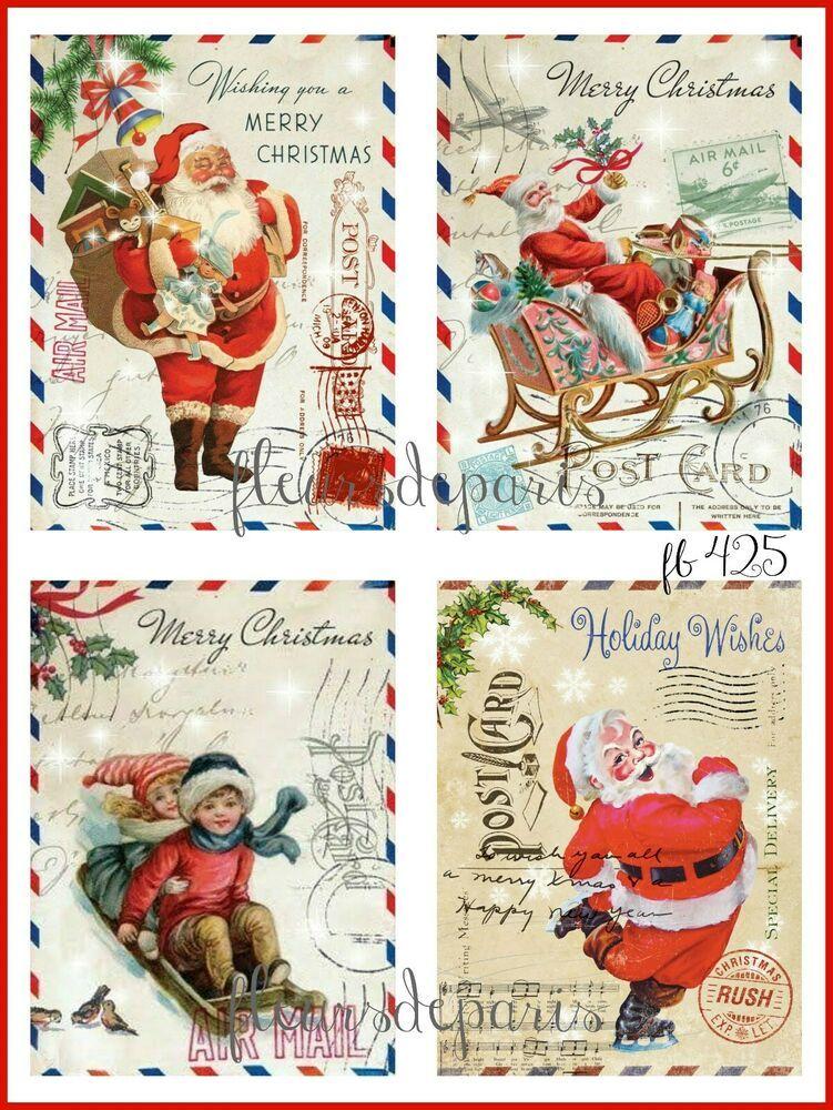 Buy 2 Fabric Block Listings Get 1 FREE Set of FOUR Retro Vintage Holiday Wishes Christmas Santa Post Card Craft Fabric Blocks