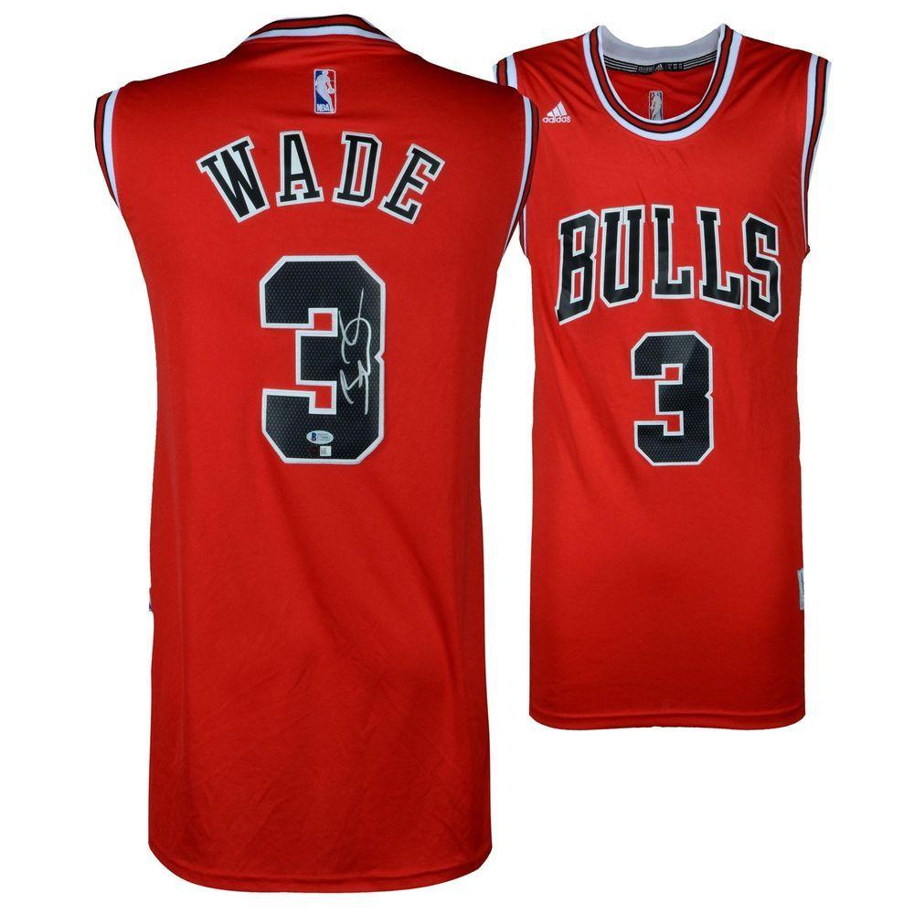 60d04e03e ... number t shirt 49c20 0226b  reduced new design e931a d884a dwyane wade  chicago bulls autographed red jersey bas beckett authentication basketball