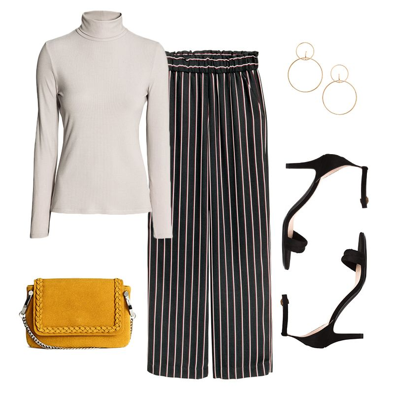 - Need a freshlook for the office? Team a striped wide-leg trouser with a fitted turtleneck for the ultimate polish. Adorn with large hoop earrings for extra glam, and finish it off with ankle-strap heels and a chain-strap bag.