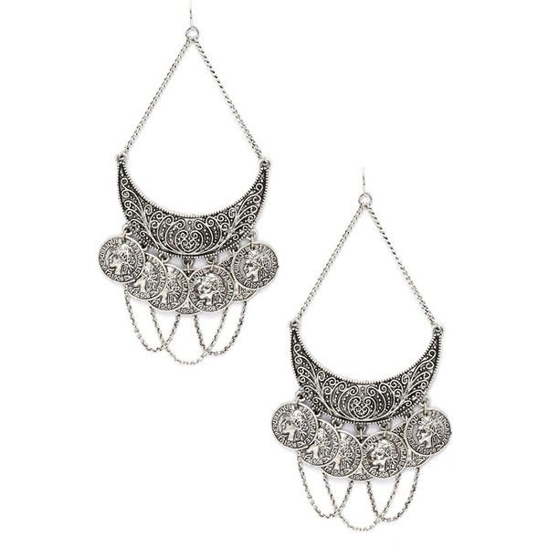 Forever 21 Chained Coin Drop Earrings 4 58 Liked On Polyvore Featuring Jewelry