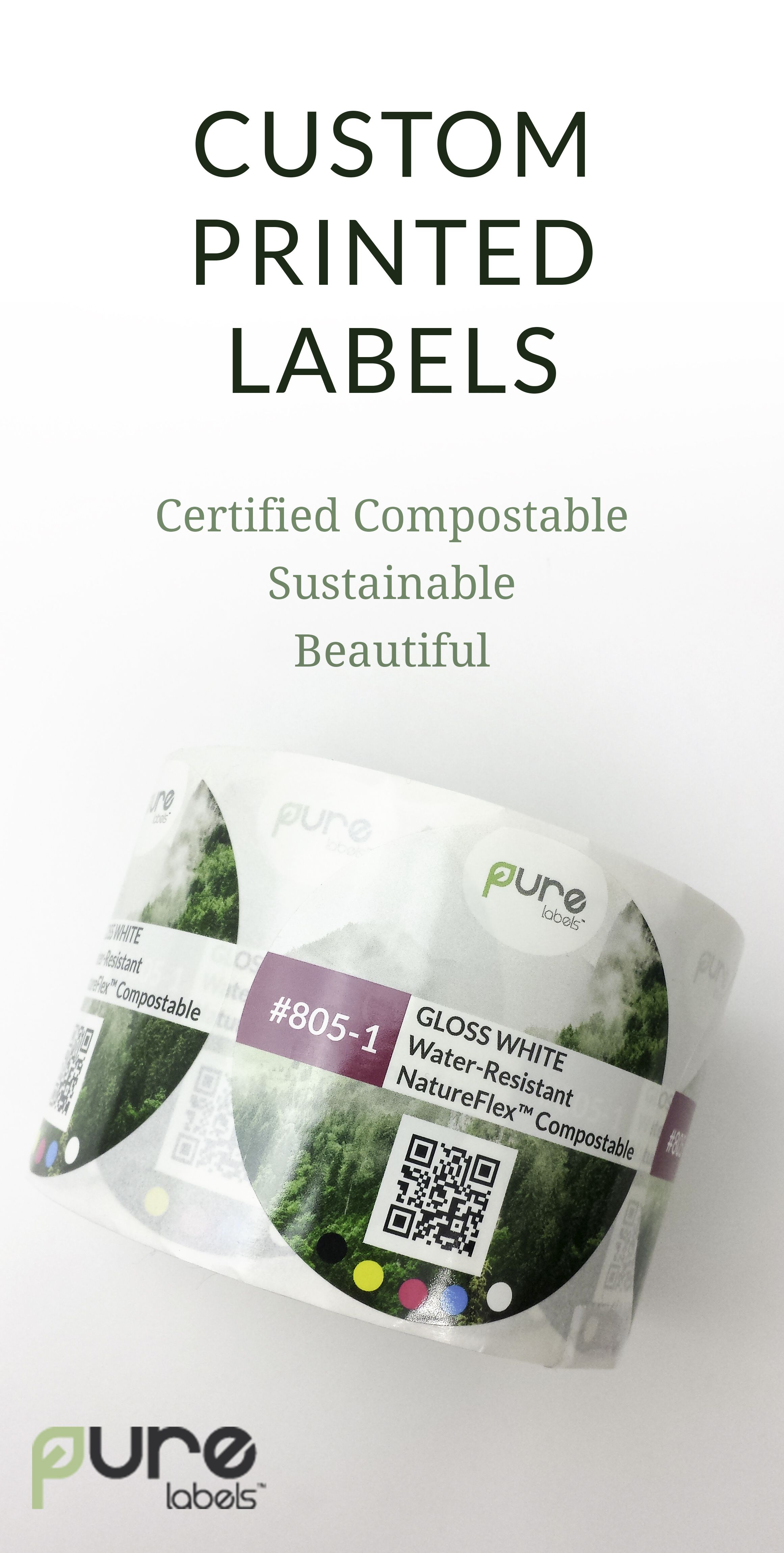 100% Compostable Custom Printed Labels, available in a variety of